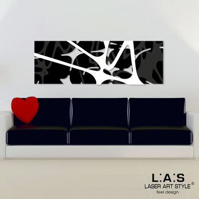 Abstract wall sculptures </br> Code: SI-158 | Size: 150x50 cm </br> Colour: black-white-wood engraving