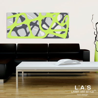 Abstract wall sculptures </br> Code: SI-159 | Size: 140x58 cm </br> Colour: light grey-charcoal grey-lime