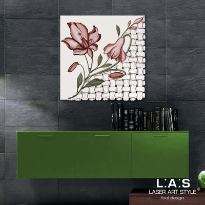 Quadri Floreali </br>  Codice: SI-075Q   Misura: 90x90 cm </br>  Colore: panna-decoro ruggine-incisione legno