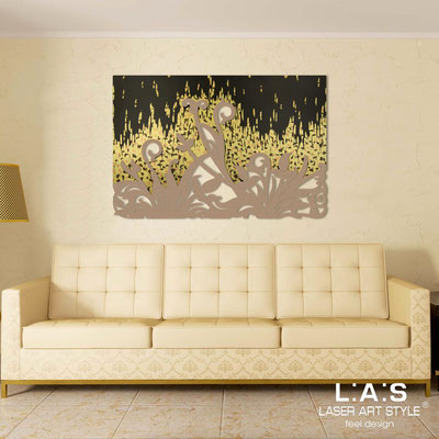Abstract wall sculptures </br> Code: SI-135 | Size: 150x100 cm </br> Code: SI-135M | Size: 100x67 cm </br> Colour: gold copper bronze leaf decoration-hazel