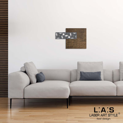 Abstract wall sculptures </br> Code: SI-351 | Size: 75x50 cm </br> Colour: flax decoration-charcoal grey-wood engraving