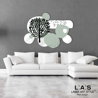 Floral wall sculpture </br> Code: SI-272 | Size: 120x90 cm </br> Colour: white-grey green-black