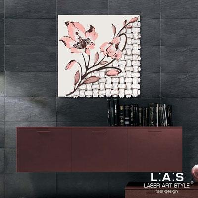 Quadri Floreali </br>  Codice: SI-075Q   Misura: 90x90 cm </br>  Colore: panna-decoro salmone-incisione legno