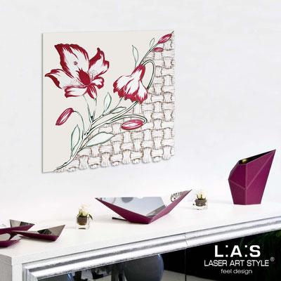 Quadri Floreali </br>  Codice: SI-075Q   Misura: 90x90 cm </br>  Colore: panna-decoro amarena-incisione legno