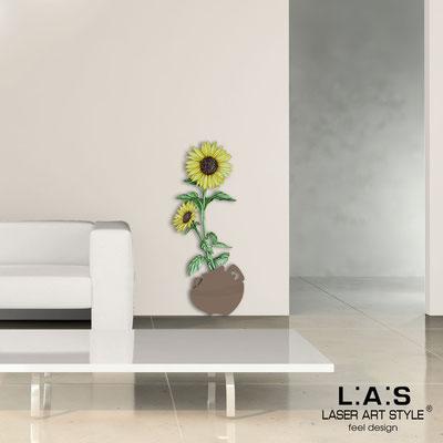 Quadri Floreali </br>  Codice: SI-179-C | Misura: 52x133 cm </br>  Colore: grigio marrone-decoro giallo-incisione legno
