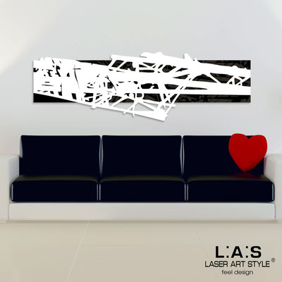 Abstract wall sculptures </br> Code: SI-150 | Size: 180x60 cm </br> Colour: black-white-wood engraving