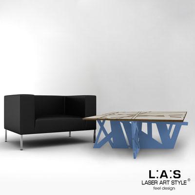 Furnishings </br> Code: MG-295   Size: 100x60 h40 cm </br> Colour: grey wood-denim-inox steel-wood engraving