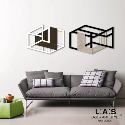 Abstract wall sculptures </br> Code: SI-308 | Size: 2 pz 180x60 cm </br> Colour: white-black-wood engraving