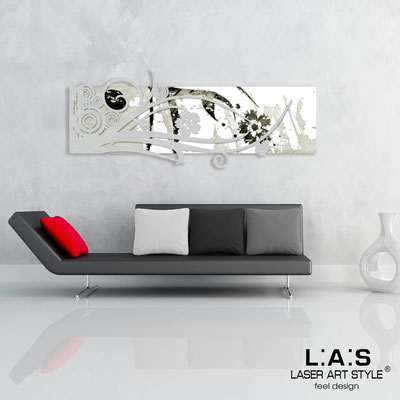 Abstract wall sculptures </br> Code: SI-106 | Size: 148x60 cm </br> Colour: white-silver-black engraving