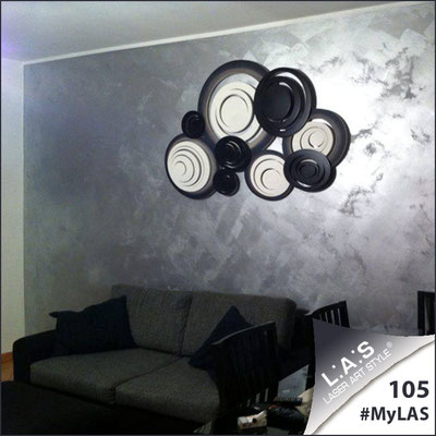 A casa di Patrizia <br> Abitazione privata | Italia </br> Codice: SI-183 | Misura: 150x100 cm </br> Colore: bianco-nero-decoro nero