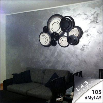 A casa di Patrizia <br> Abitazione privata   Italia </br> Codice: SI-183   Misura: 150x100 cm </br> Colore: bianco-nero-decoro nero