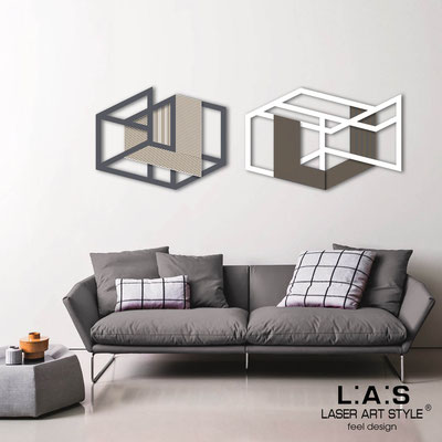 Abstract wall sculptures </br> Code: SI-308 | Size: 2 pz 180x60 cm </br> Colour: charcoal grey-white-wood engraving