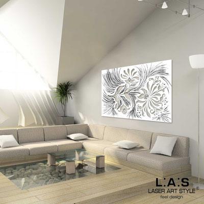 Quadri Floreali </br>  Codice: SI-137   Misura: 150x100 cm </br>  Codice: SI-137M   Misura: 100x67 cm </br>  Colore: bianco-decoro stucco nero