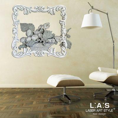 Quadri Floreali </br>  Codice: SI-218   Misura: 112x100 cm </br>  Colore: grigio verde-grigio luce-bianco-decoro grigio-incisione legno