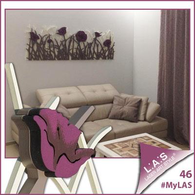 A casa di Nicola e Paola <br> Abitazione privata | Italia </br> Codice: SI-214 | Misura: 180x55 cm </br> Colore: sabbia - grigio marrone - decoro fiore porpora violetto