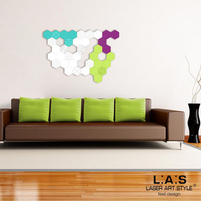 Abstract wall sculptures </br> Code: SI-300 | Size: 125x88 cm </br> Colour: turquoise-white-violet-lime-matched engraving