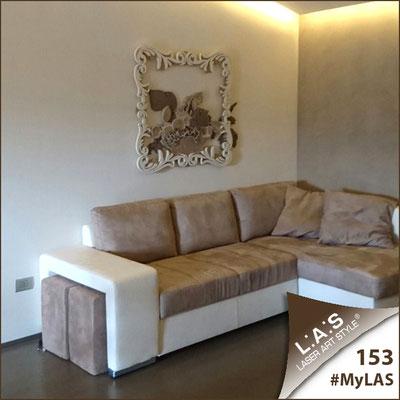 Abitazione privata | Italia </br> Codice: SI-218 | Misura: 112x100 cm </br> Colore: grigio marrone-nocciola-panna-decoro beige