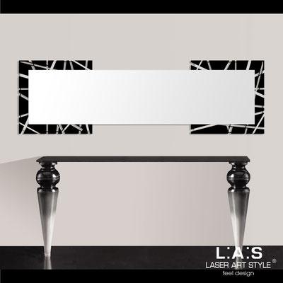 Specchiere </br> Codice: SI-095-SPXL | Misura: 180x60 cm </br>  Colore: nero-acciaio inox
