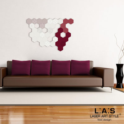 Abstract wall sculptures </br> Code: SI-300 | Size: 125x88 cm </br> Colour: powder-cream-violet red-burgundy-matched engraving