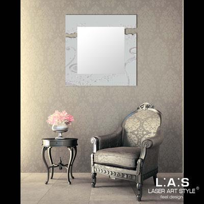 Mirrors </br> Code: SI-092Q-SP | Size: 90x90 cm </br>  Colour: light grey-silver leaf decoration-matched decoration