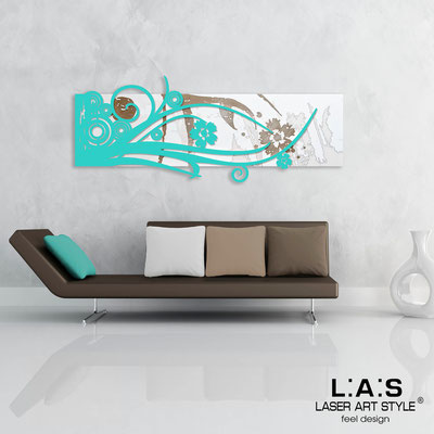 Abstract wall sculptures </br> Code: SI-106 | Size: 148x60 cm </br> Colour: white-turquoise-wood engraving