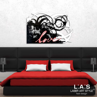 Figurative wall sculpture </br> Code: SI-211 | Size: 150x100 cm </br> Colour: white-black-red decoration-cream engraving