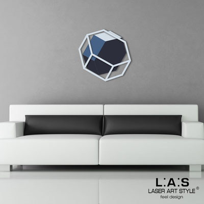 Abstract wall sculptures </br> Code: SI-305 | Size: 60x60 cm </br> Colour: grey light blue-denim-navy blue/grey light blue