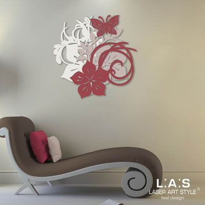 Floral wall sculpture </br> Code: SI-200 | Size: 65x65 cm </br> Code: SI-200L | Size: 90x90 cm </br> Colour: cream-powder-violet red