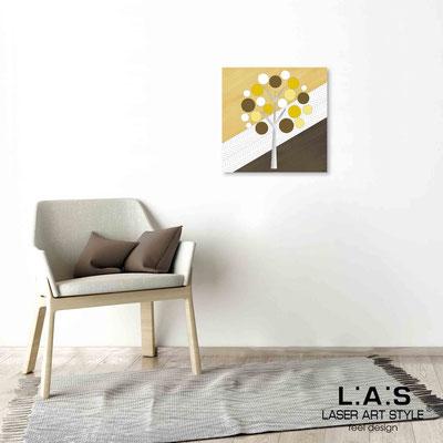 Quarantotto </br>  Codice: Q-009 | Misura: 48x48 cm </br> Colore: decoro senape-incisione legno