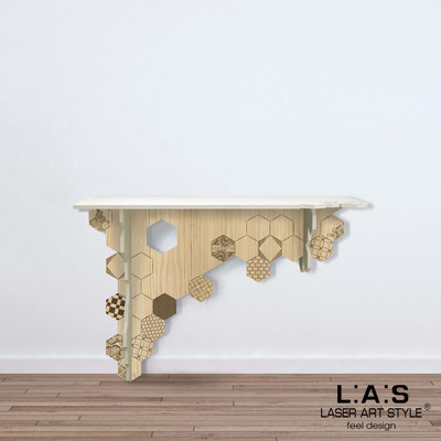 Furnishings </br> Code: MW-314   Size: 120x40 h80 cm </br> Colour: cream-natural wood-wood engraving