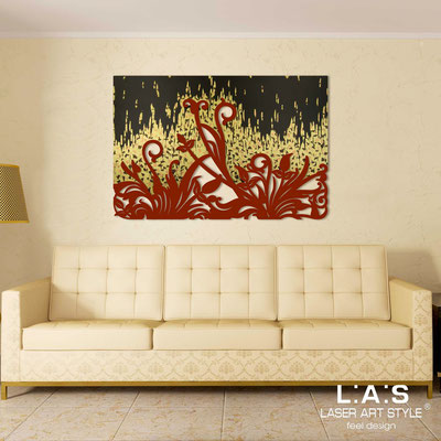 Abstract wall sculptures </br> Code: SI-135 | Size: 150x100 cm </br> Code: SI-135M | Size: 100x67 cm </br> Colour: gold copper bronze leaf decoration-brick red