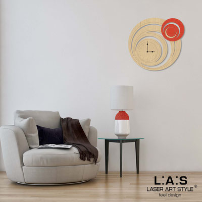 Wall clocks </br> Code: MW-297 | Size: 65x60 cm </br> Code: MW-297L | Size: 95x90 cm </br> Colour: natural wood-scarlet-wood engraving
