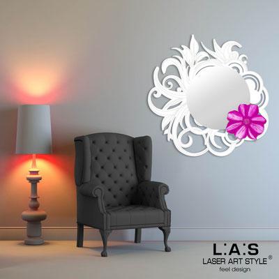Specchiere </br> Codice: SI-298 | Misura: 95x95 cm </br>  Colore: bianco-decoro rosa-incisione tono su tono