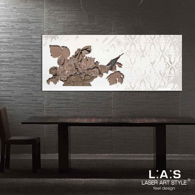 Floral wall sculpture </br> Code: SI-216 | Size: 150x60 cm </br> Colour: powder-white-beige decoration-wood engraving