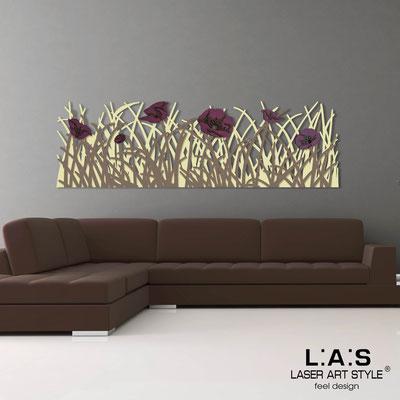 Quadri Floreali </br>  Codice: SI-214   Misura: 180x55 cm </br>  Colore: sabbia-grigio marrone-decoro violaceo