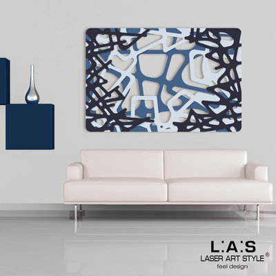 Abstract wall sculptures </br> Code: SI-144 | Size: 150x100 cm </br> Colour: denim-grey light blue-navy blue