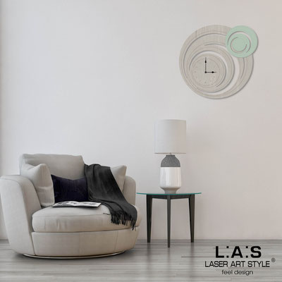 Wall clocks </br> Code: MG-297 | Size: 65x60 cm </br> Code: MG-297L | Size: 95x90 cm </br> Colour: grey wood-grey green-wood engraving