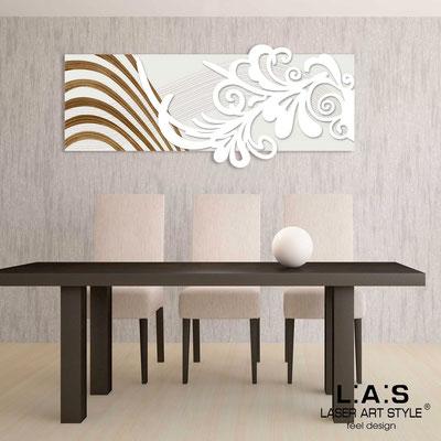 Quadri Astratti </br> Codice: SI-134 | Misura: 150x60 cm </br> Colore: panna-bianco-incisione legno