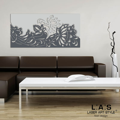 Floral wall sculpture </br> Code: SI-163-SS | Size: 180x90 cm </br> Colour: light grey-charcoal grey