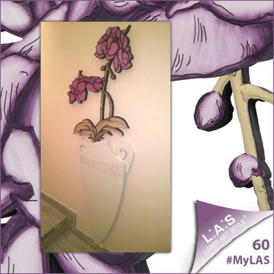 A casa di Ilaria <br> Abitazione privata   Italia </br> Codice: SI-180-D   Misura: 50x138 cm </br> Colore: vaso panna - decoro fiore prugna