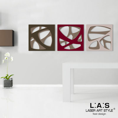 Abstract wall sculptures </br> Code: SI-146 | Size: 3pz 45x45 cm/cad </br> Code: SI-146L | Size: 3pz 60x60 cm/cad </br> Colour: dove grey/brown-burgundy-powder