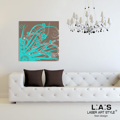 Abstract wall sculptures </br> Code: SI-107Q | Size: 90x90 cm </br> Colour: dove grey-turquoise