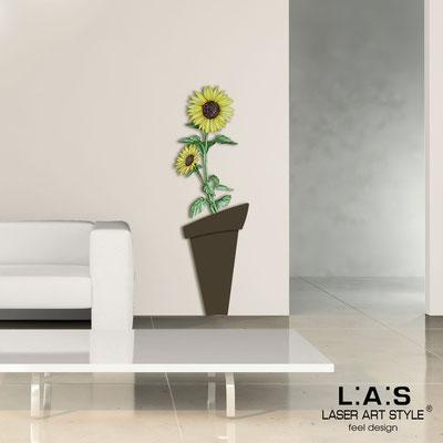 Quadri Floreali </br>  Codice: SI-179-B | Misura: 57x178 cm </br>  Colore: marrone-decoro giallo-incisione legno