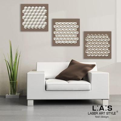 Quadri Astratti </br> Codice: SI-143 | Misura: 3pz 45x45 cm/cad </br> Colore: grigio marrone-panna-incisione legno
