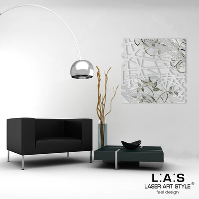 Abstract wall sculptures </br> Code: SI-110Q | Size: 90x90 cm </br> Colour: silver- black engraving