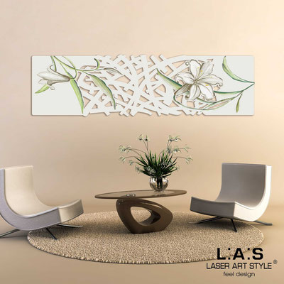 Floral wall sculpture </br> Code: SI-086-B | Size: 148x50 cm </br> Colour: cream-dove grey decoration-matched engraving