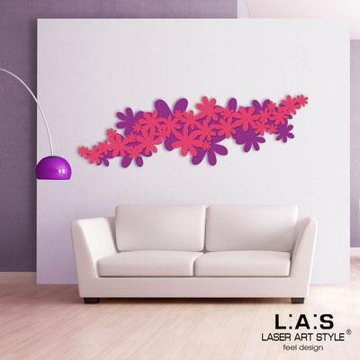 Floral wall sculpture </br> Code: SI-208 | Size: 180x60 cm </br> Colour: violet-fuchsia