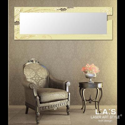 Specchiere </br> Codice: SI-092-SPXL | Misura: 180x60 cm </br> Codice: SI-092-SP | Misura: 134x54 cm </br>  Colore: sabbia-decoro foglia oro-incisione tono su tono
