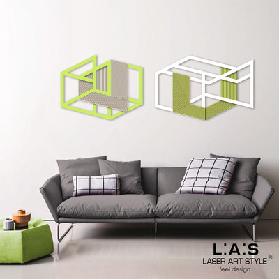 Abstract wall sculptures </br> Code: SI-308 | Size: 2 pz 180x60 cm </br> Colour: lime-white-wood engraving