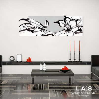 Floral wall sculpture </br> Code: SI-074-B | Size: 180x65 cm </br> Colour: white-silver-black decoration-matched engraving